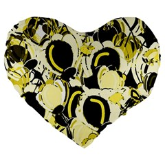 Yellow Abstract Garden Large 19  Premium Flano Heart Shape Cushions by Valentinaart