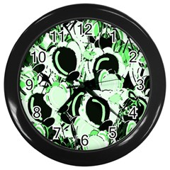 Green Abstract Garden Wall Clocks (black) by Valentinaart