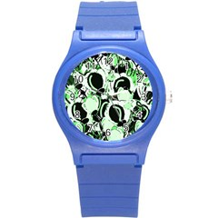 Green Abstract Garden Round Plastic Sport Watch (s) by Valentinaart