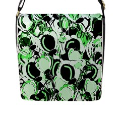 Green Abstract Garden Flap Messenger Bag (l)  by Valentinaart