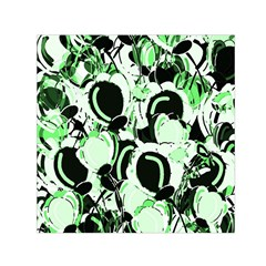 Green Abstract Garden Small Satin Scarf (square) by Valentinaart
