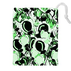 Green Abstract Garden Drawstring Pouches (xxl) by Valentinaart