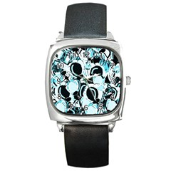 Blue Abstract  Garden Square Metal Watch by Valentinaart