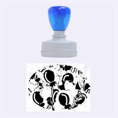 Blue Abstract  Garden Rubber Oval Stamps