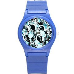 Blue Abstract  Garden Round Plastic Sport Watch (s)