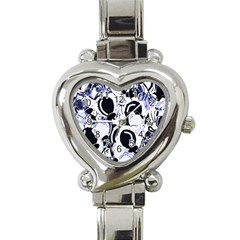 Blue Abstract Floral Design Heart Italian Charm Watch by Valentinaart
