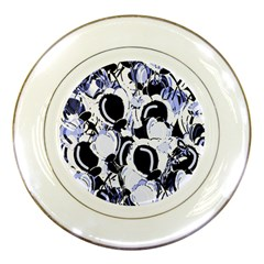 Blue Abstract Floral Design Porcelain Plates by Valentinaart