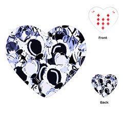 Blue Abstract Floral Design Playing Cards (heart)  by Valentinaart