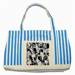 Blue Abstract Floral Design Striped Blue Tote Bag by Valentinaart