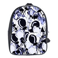 Blue Abstract Floral Design School Bags(large)