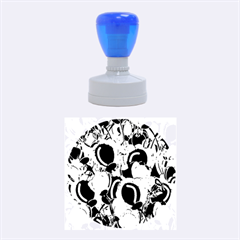 Blue Abstract Floral Design Rubber Round Stamps (medium) by Valentinaart