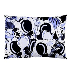 Blue Abstract Floral Design Pillow Case (two Sides) by Valentinaart