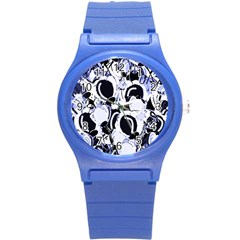 Blue Abstract Floral Design Round Plastic Sport Watch (s) by Valentinaart