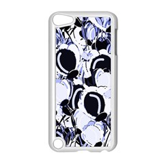 Blue Abstract Floral Design Apple Ipod Touch 5 Case (white) by Valentinaart