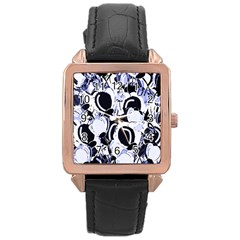 Blue Abstract Floral Design Rose Gold Leather Watch  by Valentinaart