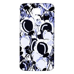 Blue Abstract Floral Design Samsung Galaxy S5 Back Case (white) by Valentinaart
