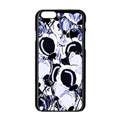 Blue Abstract Floral Design Apple Iphone 6/6s Black Enamel Case by Valentinaart
