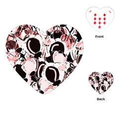 Pink Abstract Garden Playing Cards (heart)