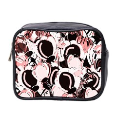 Pink Abstract Garden Mini Toiletries Bag 2 Side by Valentinaart