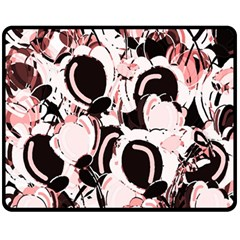 Pink Abstract Garden Fleece Blanket (medium)  by Valentinaart