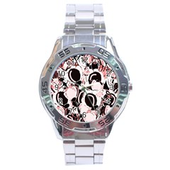 Pink Abstract Garden Stainless Steel Analogue Watch by Valentinaart