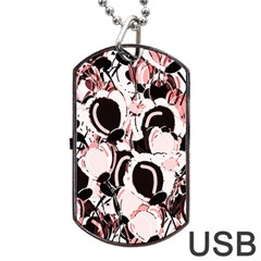 Pink Abstract Garden Dog Tag Usb Flash (two Sides)  by Valentinaart