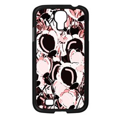 Pink Abstract Garden Samsung Galaxy S4 I9500/ I9505 Case (black) by Valentinaart