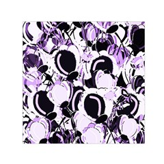 Purple Abstract Garden Small Satin Scarf (square) by Valentinaart
