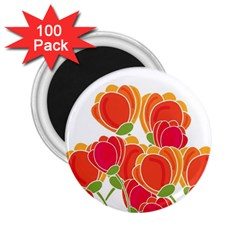 Orange Flowers  2 25  Magnets (100 Pack)  by Valentinaart