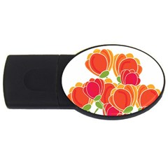 Orange Flowers  Usb Flash Drive Oval (2 Gb)