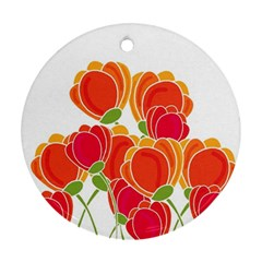Orange Flowers  Round Ornament (two Sides)