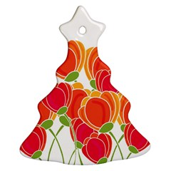 Orange Flowers  Ornament (christmas Tree) by Valentinaart