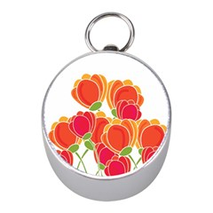 Orange Flowers  Mini Silver Compasses