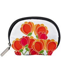 Orange Flowers  Accessory Pouches (small)  by Valentinaart