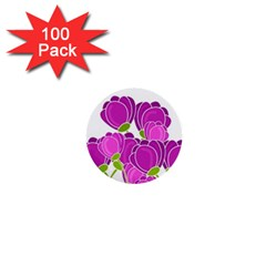 Purple Flowers 1  Mini Buttons (100 Pack)  by Valentinaart