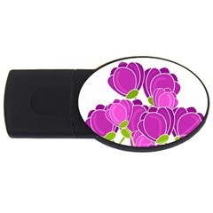 Purple Flowers Usb Flash Drive Oval (2 Gb)  by Valentinaart