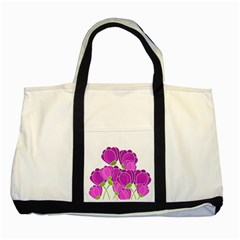 Purple Flowers Two Tone Tote Bag