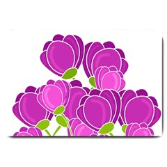 Purple Flowers Large Doormat  by Valentinaart