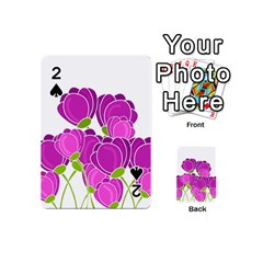 Purple Flowers Playing Cards 54 (mini)  by Valentinaart