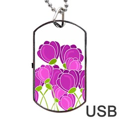 Purple Flowers Dog Tag Usb Flash (two Sides)  by Valentinaart