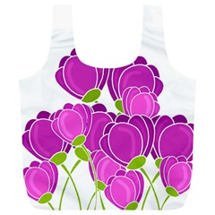 Purple Flowers Full Print Recycle Bags (l)  by Valentinaart