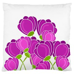 Purple Flowers Large Flano Cushion Case (two Sides)