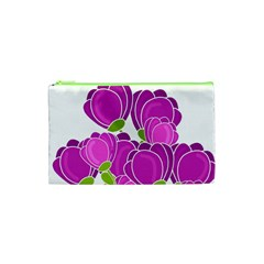 Purple Flowers Cosmetic Bag (xs) by Valentinaart
