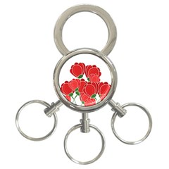 Red Floral Design 3 Ring Key Chains by Valentinaart