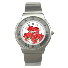 Red Floral Design Stainless Steel Watch by Valentinaart