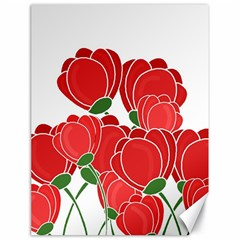 Red Floral Design Canvas 18  X 24   by Valentinaart