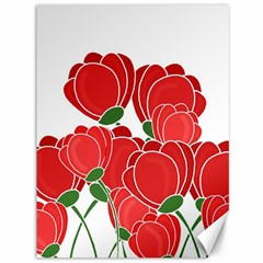Red Floral Design Canvas 36  X 48   by Valentinaart