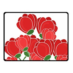 Red Floral Design Fleece Blanket (small) by Valentinaart