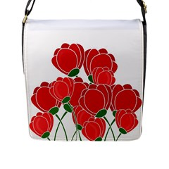 Red Floral Design Flap Messenger Bag (l)  by Valentinaart