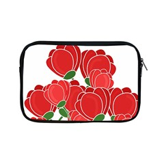 Red Floral Design Apple Ipad Mini Zipper Cases by Valentinaart